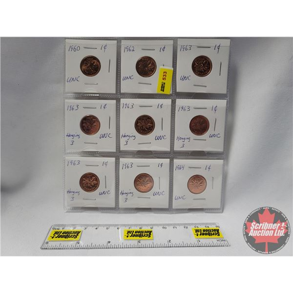 Canada One Cent - Sheet of 9 (Unc) (1 of 1960 & 1 of 1962 & 6 of 1963 & 1 of 1964) (Note: Consignor