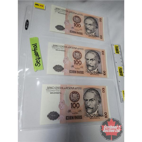 Banco Central de Reserva del Peru : $100 Cien Intis (3 Bills ~ 2 are Sequential : S/N#B8409801A & 80