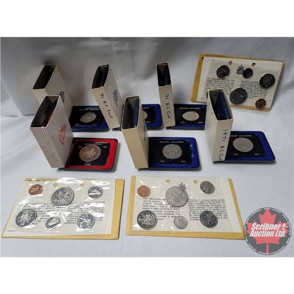 Collector Combo: 1971 BC Centennial Dollars (6) & Uncirculated 1971 Proof Sets (3)