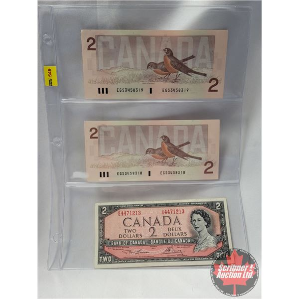 Canada $2 Bills (3): (2 Sequential 1986) & 1954 (See Pics for Serial Numbers & Signatures)