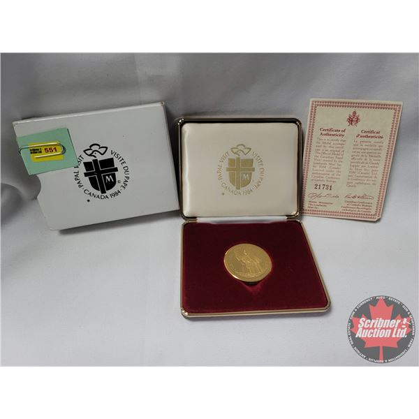 """Lombardo Mint Inc. for IGM Canada """"1984 Canada Papal Visit"""" Gold Plated w/COA #21731"""