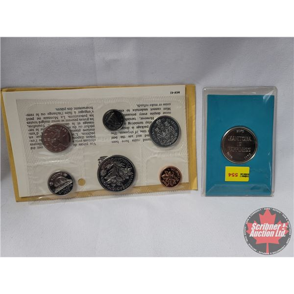 """Collector Combo: Uncirculated Proof Like Set 1970 Manitoba & Souvenir for Students """"Manitoba is Happ"""