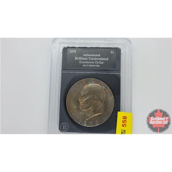 Bradford Exchange : Brilliant Uncirculated Eisenhower Dollar 1978