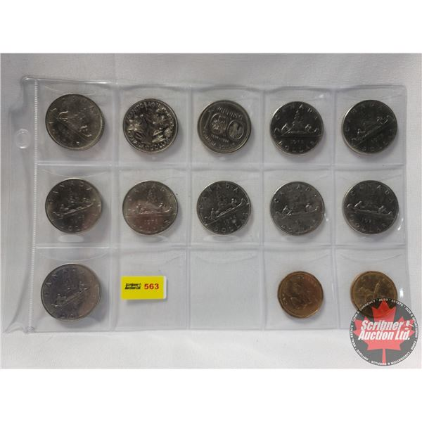 Canada Dollars (13) : 1968; 1970; 1974; 1975; 1975; 1976; 1976; 1976; 1978; 1978; 1978 + 1992 Loonie