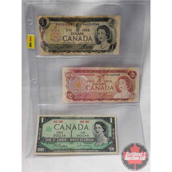 Canada Bills (3): 1973 $1 Bill ; 1974 $2 Bill; 1867-1967 $1 Bill (See Pics for Serial Numbers & Sign