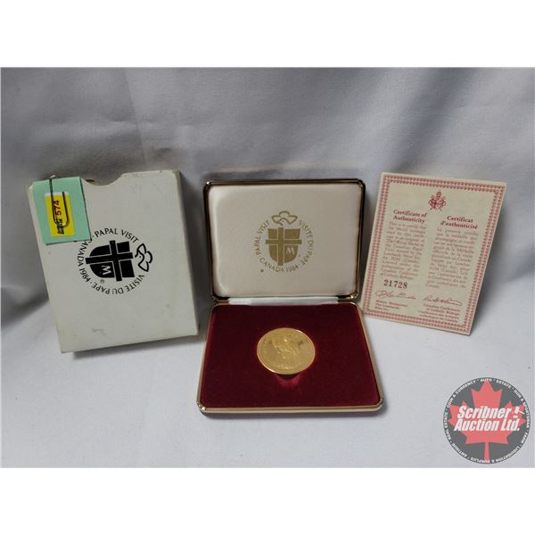 """Lombardo Mint Inc. for IGM Canada """"1984 Canada Papal Visit"""" Gold Plated w/COA #21728"""