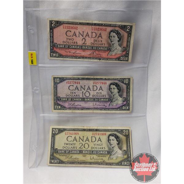 Canada Bills 1954 (3): $2 Bill; $10 Bill; $20 Bill (See Pics for Serial Numbers & Signatures)