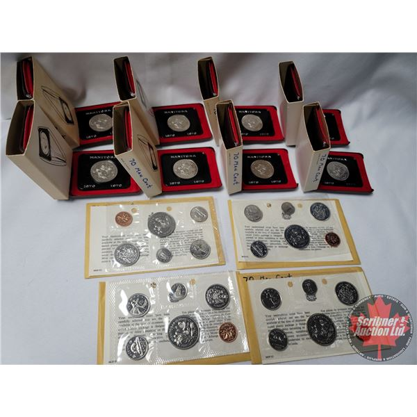 Collector Combo: 1970 Manitoba Centennial Dollars (8) & Uncirculated 1970 Proof Sets (4)