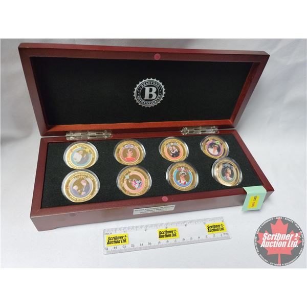"""Bradford Exchange """"Diana Princess of Wales Legacy Gold Proof Collection"""" in Display Case (with 8 Coi"""