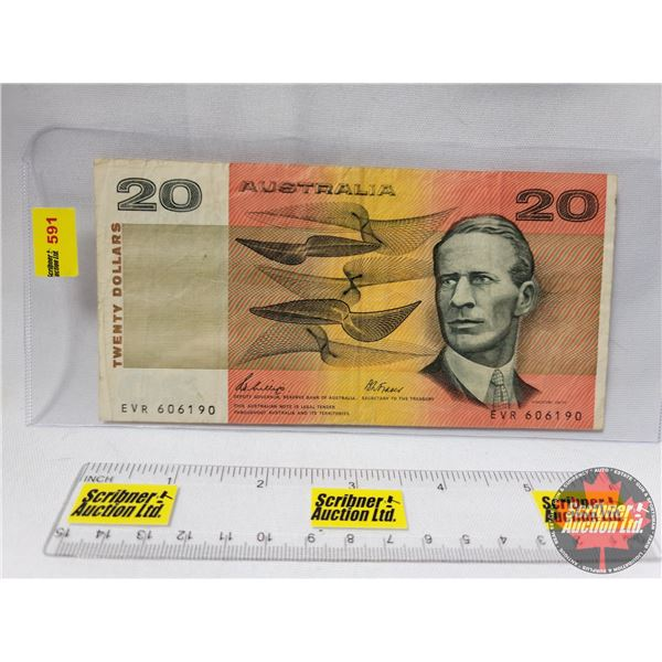 Australia $20 Bill 1991 (S/N#EVR606190) (See Pics for Serial Numbers & Signatures)