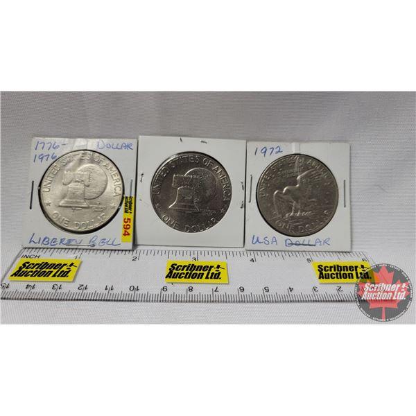 USA Dollars (3) Eisenhower : 1972; 1776-1976; 1776-1976