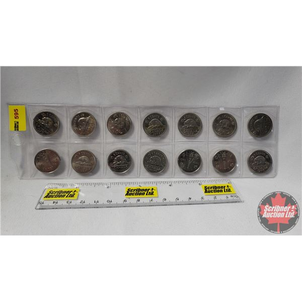 Canada Five Cent - Strip of 14 : 1979; 1980; 1981; 1982; 1983; 1984; 1985; 1945-2005; 1987; 1952-200