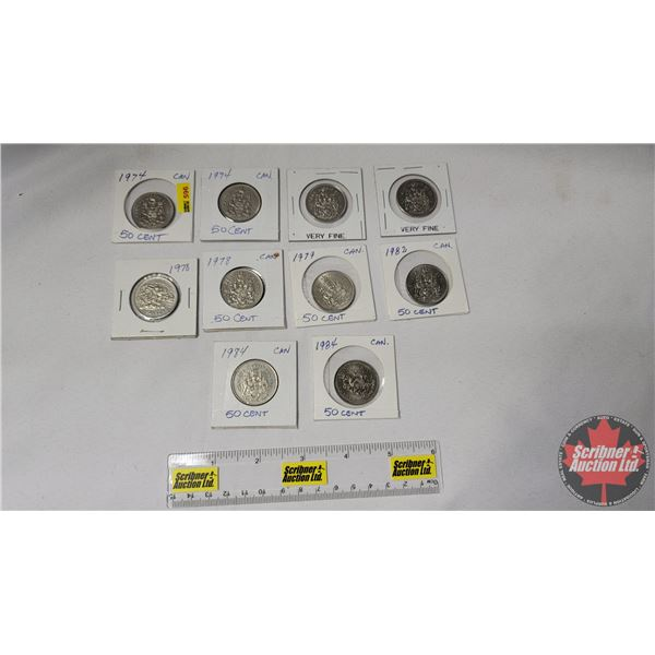 Canada Fifty Cent (10): 1974; 1974; 1976; 1978; 1978; 1978; 1979; 1982; 1984; 1984