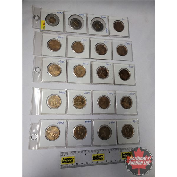 Canada Loonies (17) & Toonies (3): (Loonies: 1992; 1994; 1994; 1995; 1995; 2004; 2004; 2005; 2005; 2