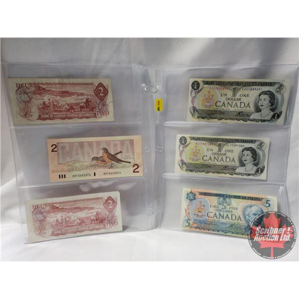 Canada Bills (6): $1 Bill 1973; $1 Bill 1973; $5 Bill 1979; $2 Bill 1974; $2 Bill 1986; $2 Bill 1974