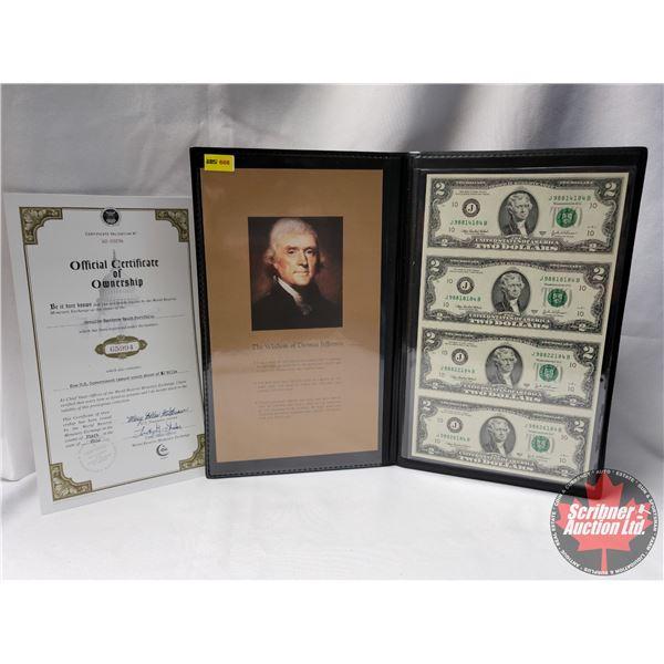 USA $2 Bills (Uncut Sheet of 4) w/COA #W2-33256 in Presentation Folio
