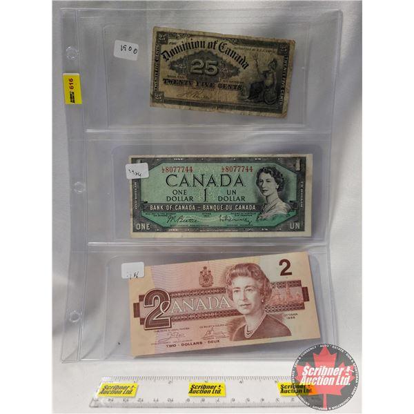 """Canada Bills (3): 1900 Twenty Five Cent """"Shinplaster"""" ; 1954 $1 Bill ; 1986 $2 Bill (See Pics for Se"""