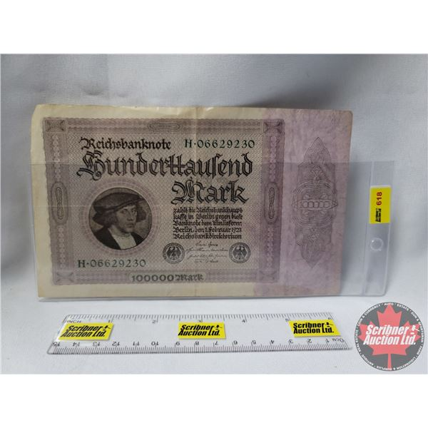 $100000 Mark 1923 Reichsbanknote (See Pics for Serial Numbers & Signatures)