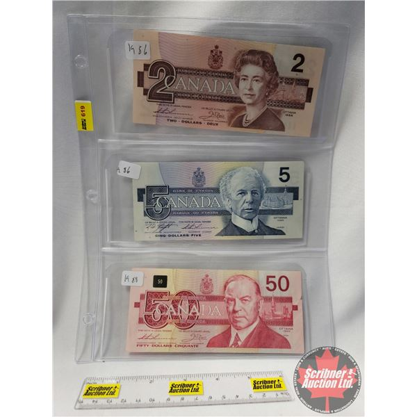 Canada Bills (3): 1986 $2 Bill ; 1986 $5 Bill ; 1988 $50 Bill (See Pics for Serial Numbers & Signatu