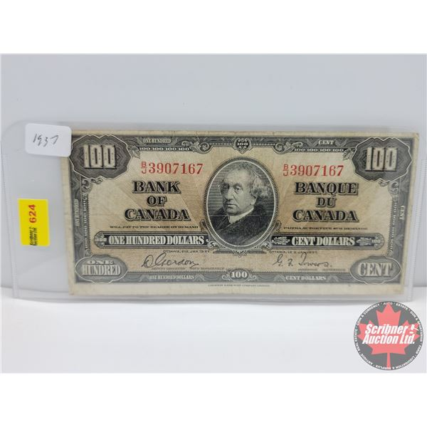 Canada $100 Bill 1937 : Gordon/Towers #BJ3907167 (See Pics for Serial Numbers & Signatures)