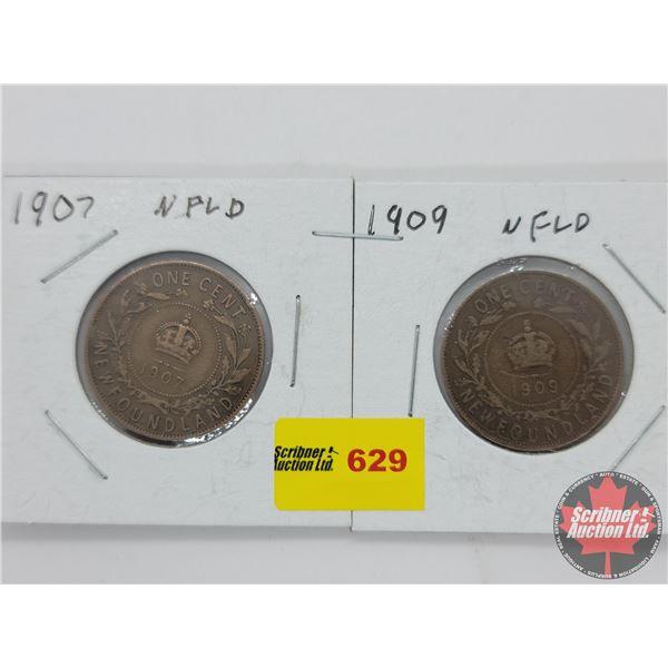 Newfoundland Large Cent (2): 1907; 1909