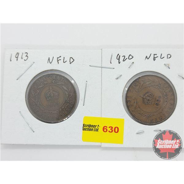 Newfoundland Large Cent (2): 1913; 1920