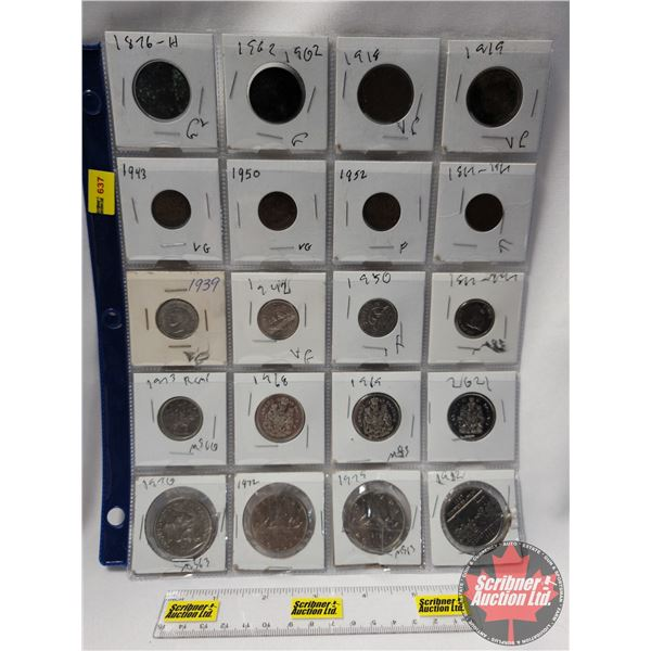 Canada Coins - Sheet of 20: (Large Cent: 1876H; 1902; 1918; 1919) (Small Cent: 1943; 1950; 1952; 186