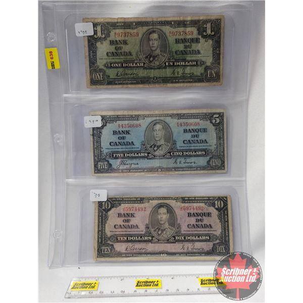 Canada Bills 1937 (3): $1 Bill; $5 Bill; $10 Bill (See Pics for Serial Numbers & Signatures)