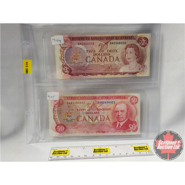 Canada Bills (2): $2 Bill 1974 & $50 Bill 1975 (See Pics for Serial Numbers & Signatures)