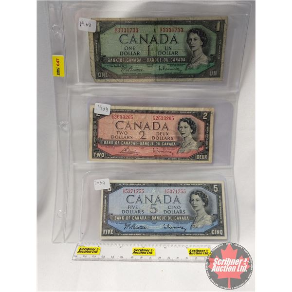 Canada Bills 1954 (3): $1 Bill ; $2 Bill; $5 Bill (See Pics for Serial Numbers & Signatures)