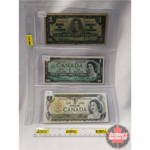 Canada $1 Bills (3): 1937; 1967; 1973 (See Pics for Serial Numbers & Signatures)