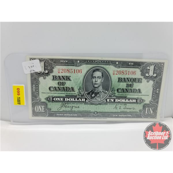 Canada $1 Bill 1937 : Coyne/Towers #UM2085106 (See Pics for Serial Numbers & Signatures)