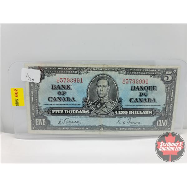 Canada $5 Bill 1937 : Gordon/Towers #TC5793991 (See Pics for Serial Numbers & Signatures)