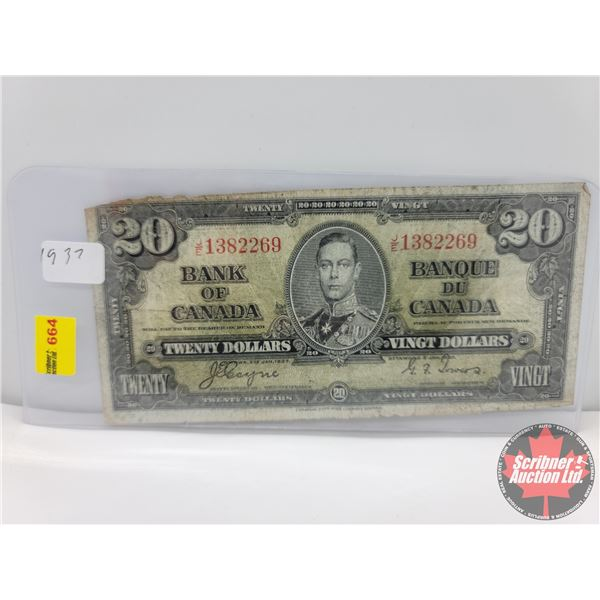 Canada $20 Bill 1937 : Coyne/Towers #JE1382269 (See Pics for Serial Numbers & Signatures)
