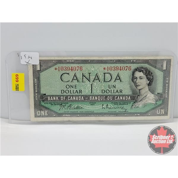 Canada $1 Bill 1954 *Replacement : Beattie/Rasminsky # *AA0394076 (See Pics for Serial Numbers & Sig