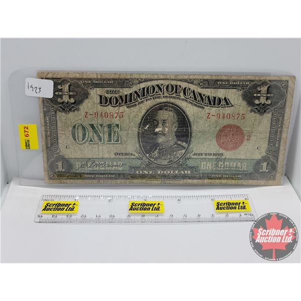 """Dominion of Canada $1 Bill 1923 """"Horse Blanket"""" (See Pics for Serial Numbers & Signatures)"""