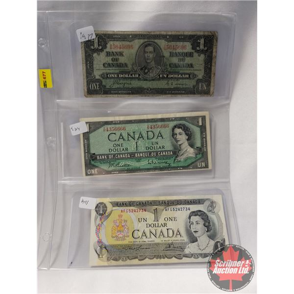Canada $1 Bills (3): 1937; 1954; 1973 (See Pics for Serial Numbers & Signatures)