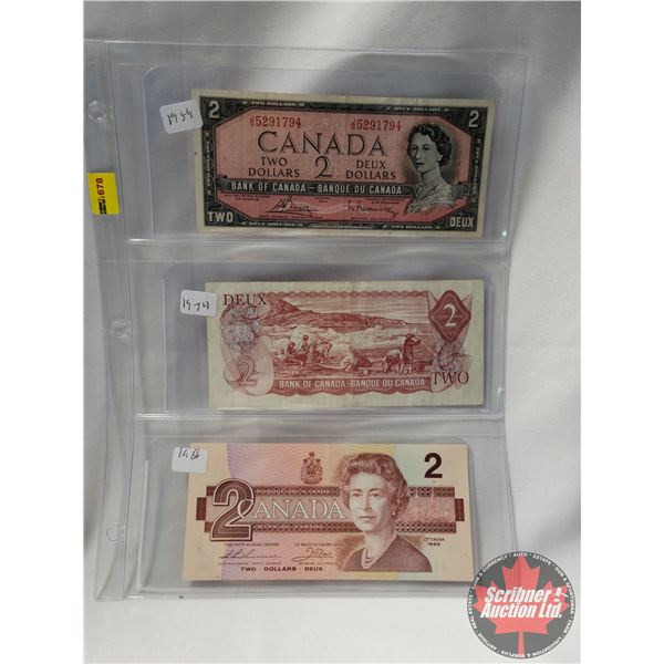 Canada $2 Bills (3): 1954; 1974; 1986 (See Pics for Serial Numbers & Signatures)