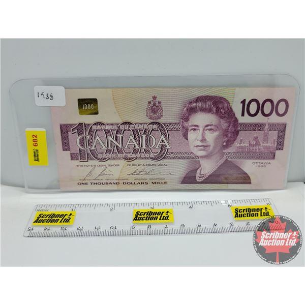 Canada $1000 Bill 1988 : Bonin/Thiessen #EKA3237501 (See Pics for Serial Numbers & Signatures)
