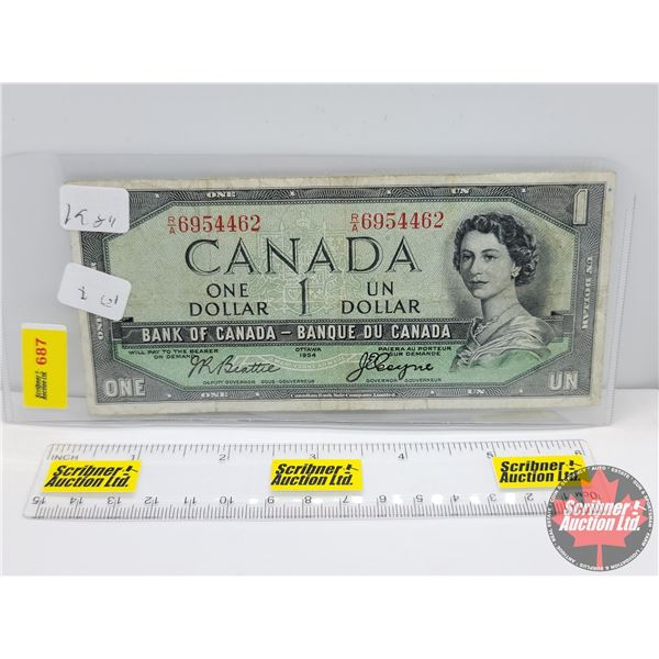 """Canada $1 Bill 1954DF """"Devil's Face"""" : Beattie/Coyne #RA6954462 (See Pics for Serial Numbers & Signa"""