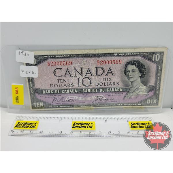 """Canada $10 Bill 1954DF """"Devil's Face"""" : Beattie/Coyne #GD2000569 (See Pics for Serial Numbers & Sign"""