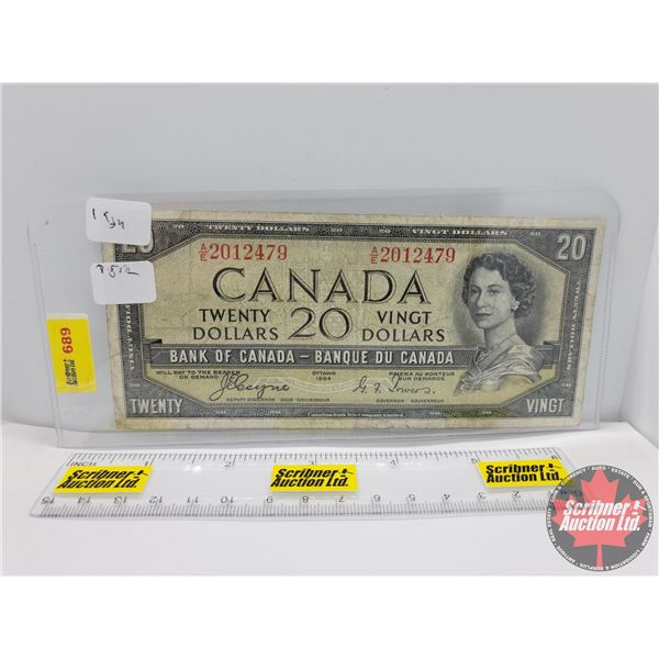 """Canada $20 Bill 1954DF """"Devil's Face"""" : Coyne/Towers #AE2012479 (See Pics for Serial Numbers & Signa"""