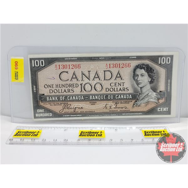 """Canada $100 Bill 1954DF """"Devil's Face"""" : Coyne/Towers #AJ1301266 (See Pics for Serial Numbers & Sign"""