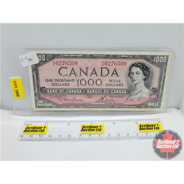 Canada $1000 Bill 1954 : Lawson/Bouey #AK0276509 (See Pics for Serial Numbers & Signatures)