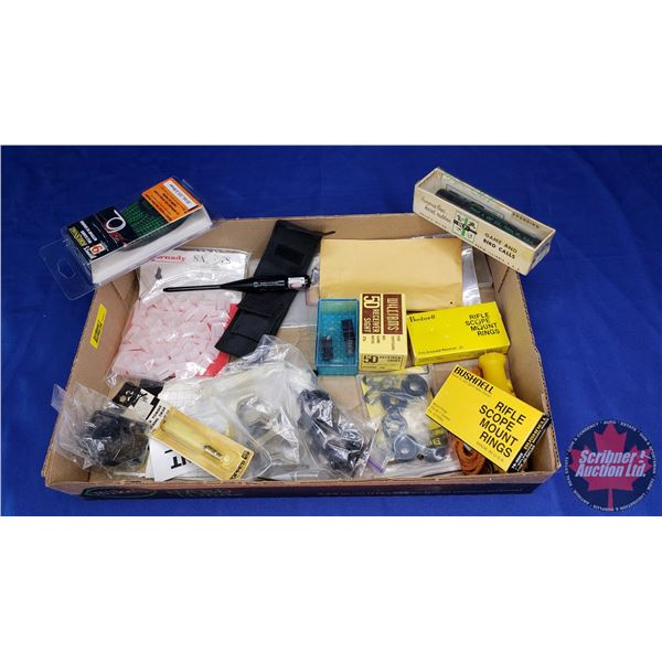 Estate Lot ~ Tray Lot: Scope Mount Rings, Bore Snake, 54 cal Sabots, Cleaning Swab, Bird Call ...