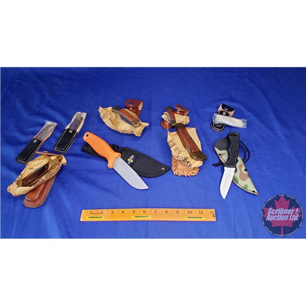 Estate Lot ~ Tray Lot: Variety of Knives (9) with Belt Sheaths (See Pics)