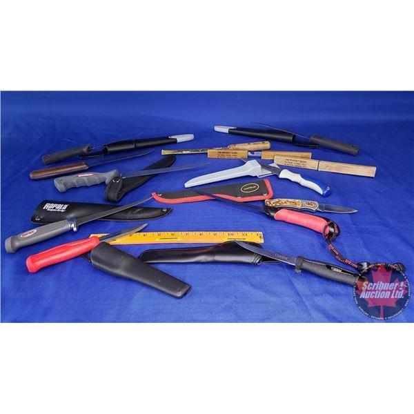 Estate Lot ~ Tray Lot: Variety of Knives/Sheaths (Incl. Shimano, Rapala, Matzuo, etc) (See Pics!)