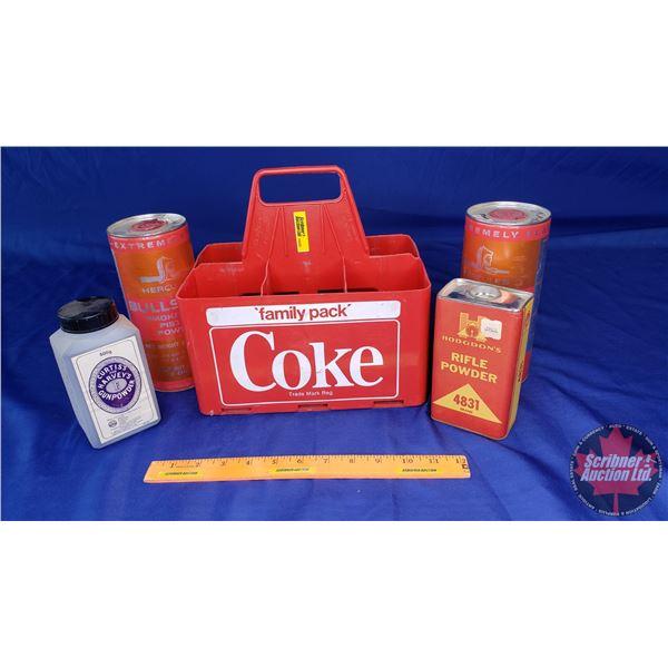 Estate Lot ~ Variety Rifle Powder, Pistol Powder, Gun Powder (4 Containers) in Coke Bottle Carrier (