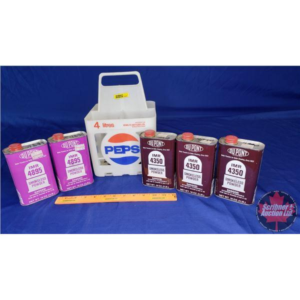 Estate Lot ~ 5 Tins Dupont Smokeless Powder (2 = 4895 & 3 = 4350) (All Unopened) in Pepsi Bottle Car