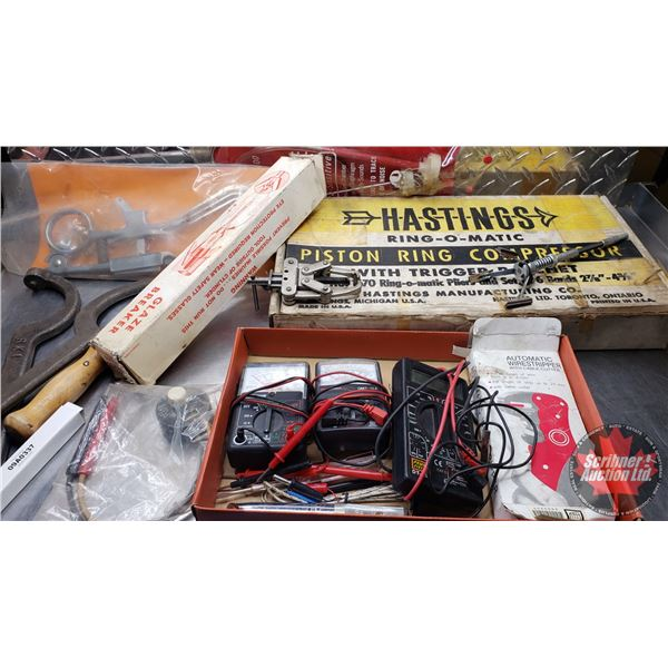Estate Lot ~ Tools: Tray Lot Engine Tools (Cylinder Hones, Piston Groove Cleaner, Piston Ring Compre